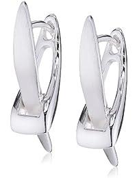 Vinani Damen-Klapp-Creolen X-Form Sterling Silber 925 Ohrringe CXV
