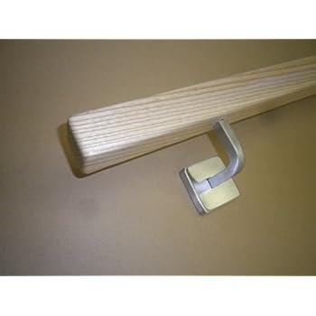 Quadratischer Edelstahl Handlauf mit gewinkelten Vierkanthalter 220cm 3 Edelstahl-Halter