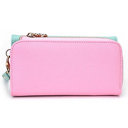 Kroo d'embrayage portefeuille avec dragonne et sangle bandoulière pour Xiaomi Redmi 2/Mi 4I Multicolore - Black and Orange Multicolore - Green and Pink