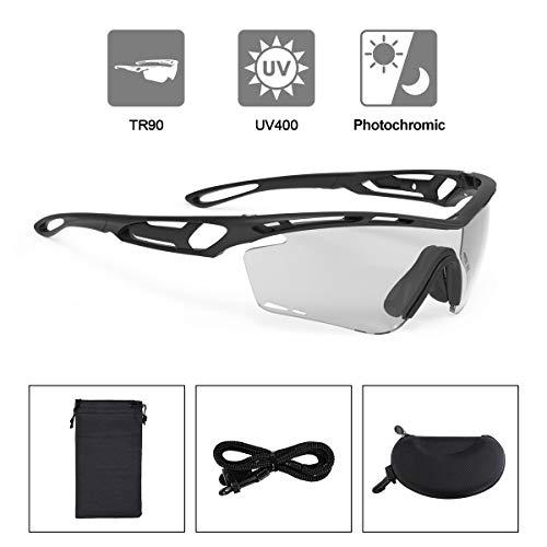 OUTERDO Sportbrille, Sonnenbrille Augen-und UV-Schutz UV400 TR90 Hochpolymere Material, Fahrradbrille HD Polarisierte Lens & HD Photochromic Lens, Brille für Outdoor Sports