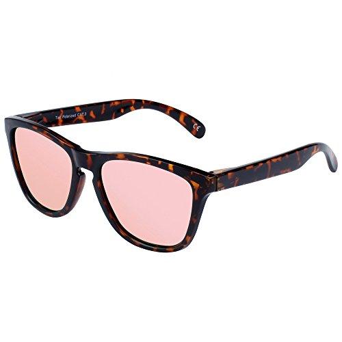 FEIDU Polarisierte Klassische Wayfarer Sonnenbrillen für Männer Frauen Sonne Brillen FD0628 (Rosa/Leopard) (Leoparden-brille)