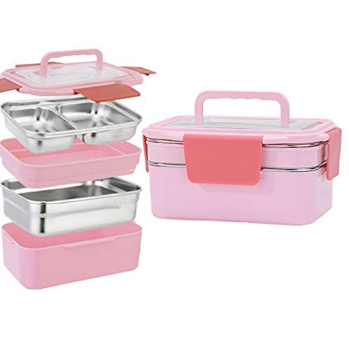 OldPAPA Brotdose,Auslaufsichere japanische Bento-Lunchbox mit Tragegriffbox 1200 ml / 41Oz für Kinder Erwachsene Büro Schule,Rosa - Erwachsenen-lunch-box Rosa