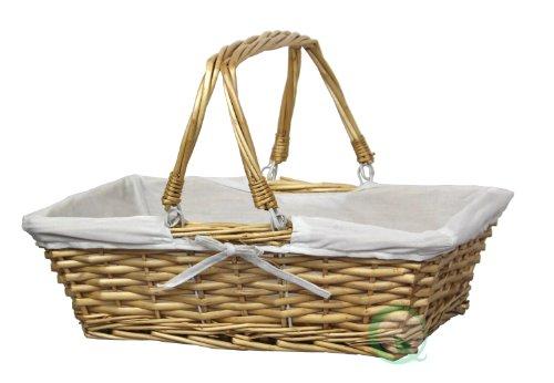 vintiquewise rectangular Cesta de mimbre con forro de tela, mimbre, natural/blanco