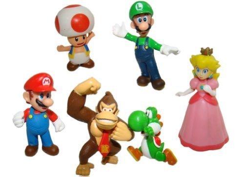Bros Mario Luigi Princess Peach Yoshi Toad DK Figure Toy by Happy Toys ()