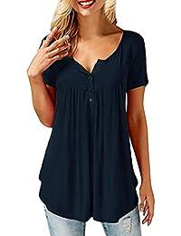 ACHIOOWA Mujer Camiseta Elegante Verano Mangas Cortas Botones Blusa Cuello V Casual Fiesta Noche Top