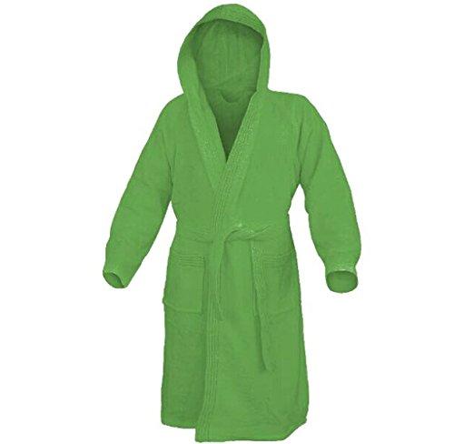 Accappatoio con cappuccio in spugna 100% cotone tinta unita uomo donna unisex mastro bianco (s, verde)
