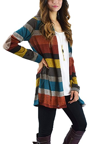 ECOWISH Damen Beiläufige Langarm Gestreift Cardigan Tops Patchwork Outwear Mantel Strickjacke Rot