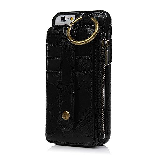 MAXFE.CO Schutzhülle Tasche Case für iPhone 6 Plus/iPhone 6S Plus PU Leder TPU Innen Schale Flip Tasche Cover Vertrennbar mit Ring Book Case Kartenfach Braun Schwarz