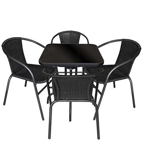 Multistore 2002 5tlg. Gartengarnitur Balkonmöbel Terrassenmöbel Set Sitzgruppe Poly-Rattan Stapelstuhl Bistrotisch Schwarze Tischglasplatte 60x60cm