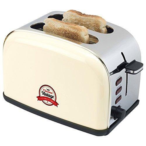 Bestron ATS100RE Toaster/Gril Pain pour 2 Tranche Ivoire