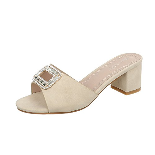 Ital-Design Pantoletten Damen-Schuhe Blockabsatz Sandalen & Sandaletten Beige, Gr 38, By168-Sp-