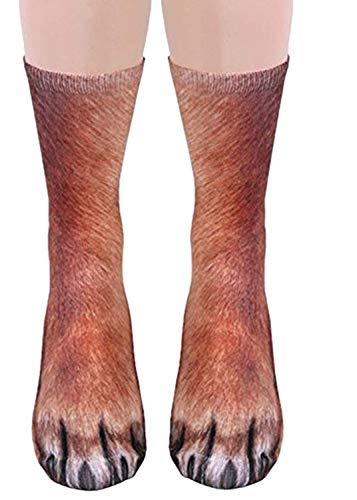 Elsta Unisex 3D Socken Damen und Herren 3D Animal Pfote Drucken Pattern Crew Socken Sneaker Sportsocken Hohe Socken Animal Paw Crew Socks Sublimated Drucken Socken Warm Socken(C1,Adult) (Knie-hohe Socken Mit Griffen)