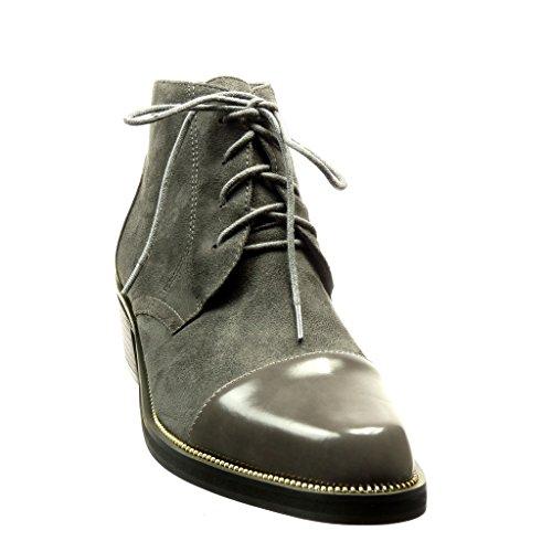 Angkorly - Scarpe Moda Stivaletti Scarponcini Scarpe brogue bi-materiale low boots donna metallico verniciato Tacco a blocco alto 4.5 CM Grigio