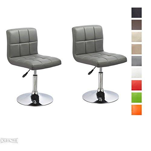 Duhome Elegant Lifestyle® 2er Set Moderner Esszimmerstuhl Grau Kunstleder Küchenstuhl Höhenverstellbar Drehbar Stuhl Farbauswahl - Typ 451N
