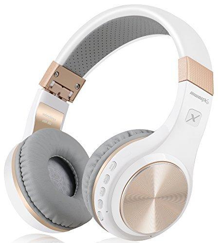 Bluetooth-Kopfhörer, Rriwbox XBT-80 Faltbare, kabellose Stereo-Kopfhörer Over-Ear mit Mikrofon und Lautstärkeregelung, mit und ohne Kabel, für PC/Handys/TV/iPad (Weiß&Gold)