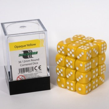 ADC Blackfire Entertainment 91687 Blackfire Würfel Box 12mm D6 36 Dice Set Undurchsichtig Gelb - Gelb In 12mm Würfel