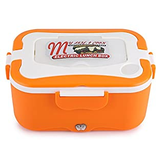 Zerodis Boîte Chauffante Lunch Box pour Voiture Électrique Boîte Déjeuner Thermique de 1.5L Boîte Alimentaires Boîte Repas Revêtement en Isolation pour Voyager(12V-Orange) (Orange)