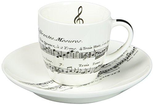 PPD Adagio Espressotassen mit Untertassen, Espresso Tasse, Kaffeetasse, New Bone China, Weiß / Schwarz, 100 ml, 601342 -