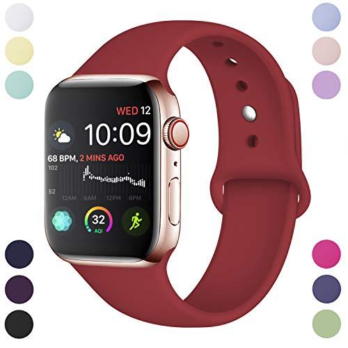 Hamile Armband Kompatibel für Apple Watch 38mm 40mm, Weiche Silikon Wasserdicht Ersatz Uhrenarmbänder für Apple Watch Series 4, Series 3, Series 2, Series 1, S/M Rot