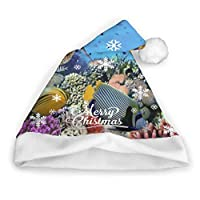 Plosds Colorful Coral Reef Fishes Santa Christmas Hat Kids Lightup Christmas Hat Adults Party New Year Christmas Day Decoration Santa Hat Adult Santa Hat Christmas