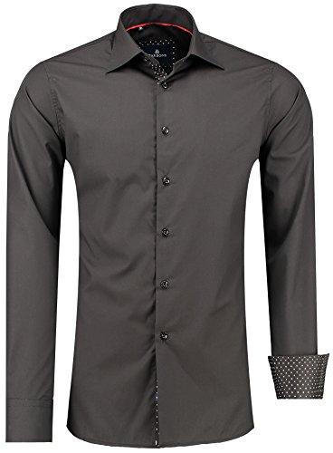 Barbons Herren Premium Business-Hemd Slim-Fit Männer Hemden für Freizeit, Business und Hochzeit - Super Modernes und Bügelleichtes Langarm Premium-Hemd Schwarz XXL