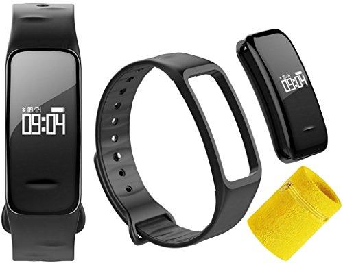Atlanta Fitness Armband mit Blutdruck Pulsmesser Herzfrequenz Blutsauerstoff GPS Schrittzähler Tracker mit Gratis Schweissband 9700 SB