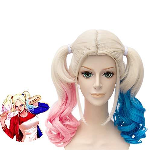 Bunte 1PC Perücken Wellenförmige lockige synthetische Haar-Perücken Hitzebeständigkeit volle Perücken Cosplay Partei-Kostüm Perücken für - Einfach Harley Quinn Kostüm