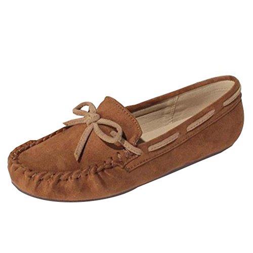 WTUS Femme Petit Frais Mocassins Femmes Casuel Confort Chaussures Plates Chaussures de Conduite Marron