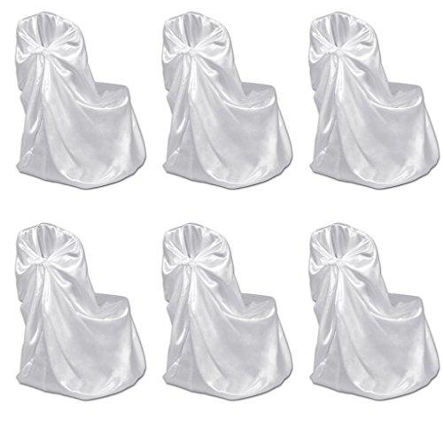 Vidaxl 6x coprisedia per feste di nozze bianca in raso copertura fodera sedia