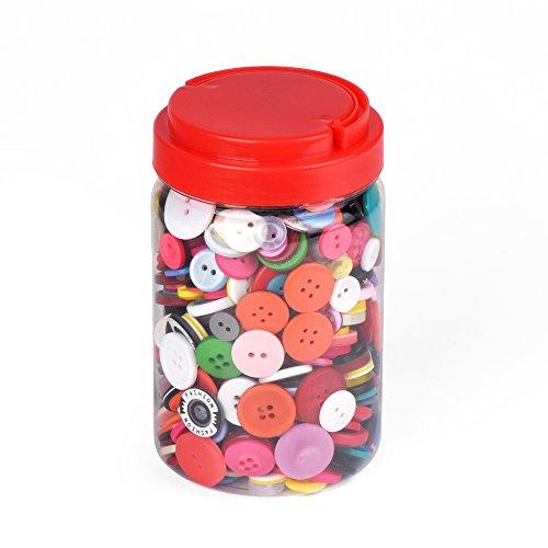 ewtshop 1000 Bunte Kunststoff-Knöpfe, rund, zum Basteln, 2 und 4 Löcher, Größen, mit schöner Aufbewahrungsbox, für Nähen, DIY, Handarbeiten