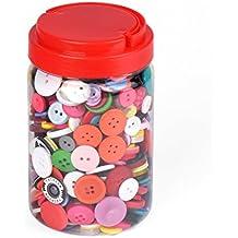ewtshop 1000 Botones de plástico de Colores, Redondo, para Manualidades, 2 y 4