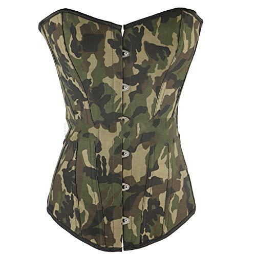 Camouflage Army Green Vintage Damen Bodyshaper Lace Sexy Korsett Dessous Taille Training Korsett Plus Size Satin Damen Schnürung Overbust Lace Trim Taille Cincher Bustier-Oberteil mit String ()