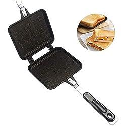 Poêle à frire double face, Sandwich Toaster Grill, Poêle à crêpes antiadhésive Flip Pancake Cuivre en alliage d'aluminium Grillé Sandwich Poêle pour le camping / Activités de plein air / Barbecue