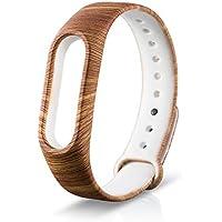 WindTeco Correa Xiaomi Mi Band 2, Silicona Repuesto Pulsera Recambio Reloj Banda Extensibles Correa Reemplazo para Xiaomi Mi Banda 2, Madera (Sin Rastreador de Actividad)