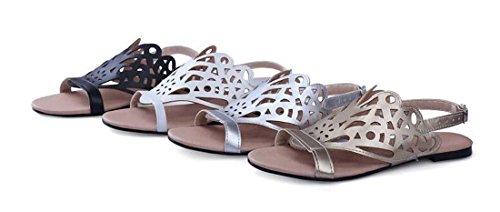 Brauqueen Été Femmes Femmes Chaussons Artificielle Pu Casual Talon plat Hollow Plain Fleurs Boucle Confortable Simple Chaussures Europe Taille standard 30-45 Black