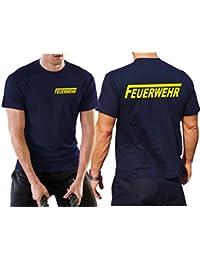 """'multifonctions T-shirt bleu marine avec protection UV 30+, pompiers avec long """"F Jaune Fluo"""