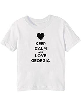 Keep Calm And Love Georgia Bambini Unisex Ragazzi Ragazze T-Shirt Maglietta Bianco Maniche Corte Tutti Dimensioni...