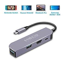 MECO USB C Adapter für Nintendo Switch (Upgrade Newest) mit 4K HDMI/USB C/USB 3.0 Ports (Fast Charging 87W + Datenübertragung) für Samsung Galaxy Dex Station, MacBook Pro USB C Geräte