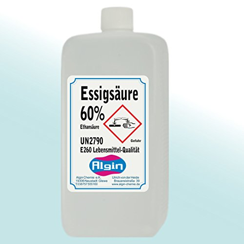 Algin Essigsäure 60% - 5x1 Liter Lebensmittelqualität