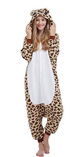 SAMGU Einhorn Adult Pyjama Cosplay Tier Onesie Body Nachtwäsche Kleid Overall Animal Sleepwear Erwachsene Leopard M -