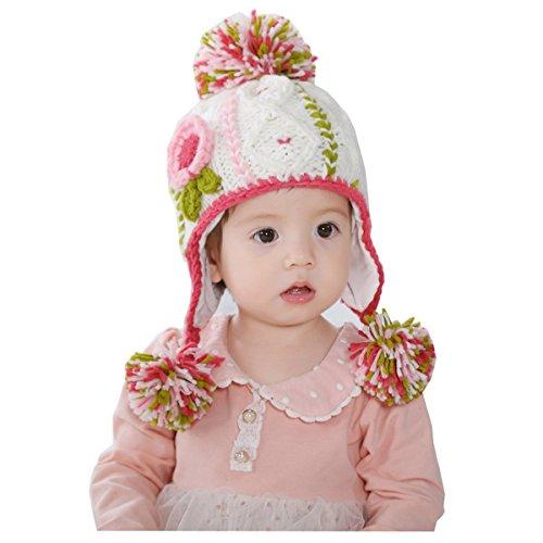 Ahatech Baby Bambine Paraorecchie?Cappello Berretto Sciarpa del Bambino di Lana a Maglia con Nappe Cappello Aviatore Invernale per Bambini e Ragazzi