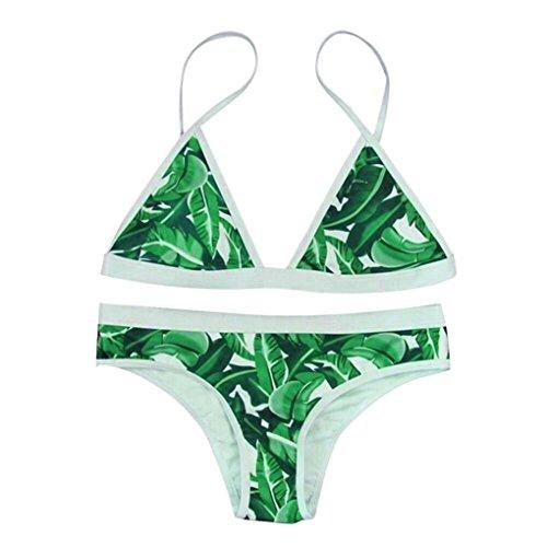 Beikoard Costumi Donna Le Donne Costume da Bagno Donna Costumi da Bagno Bikini Imbottito Pushup con Stampa Bikini (Verde, M)