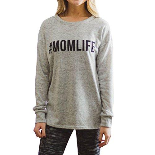 N.Life Nlife Frauen Casual Mom Life Printed Long Sleeve Shirt Tunika Shirt Grafik T-Shirts (Grafik-t-shirt Tunika)
