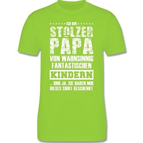 Shirtracer Vatertag - Stolzer Papa Fantastische Kinder - Herren T-Shirt Rundhals Hellgrün