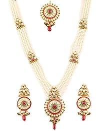 Touchstone Kundan Look Faux Ruby Emerald & Pearls Raani Haar In Antique Gold Tone Jewellery Set For Women