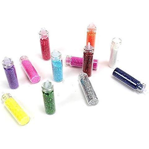 12 fiaschi con paillette, in colori assortiti