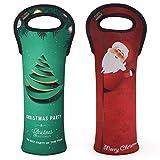 Nuovoware Wein Tasche, Tragbar Wasserdicht Weinträger Flaschenträger Weinflaschen Schutz für Zuhause Reisen Picknick 2 stück, Weihnachtsmann und Weihnachtsbaum