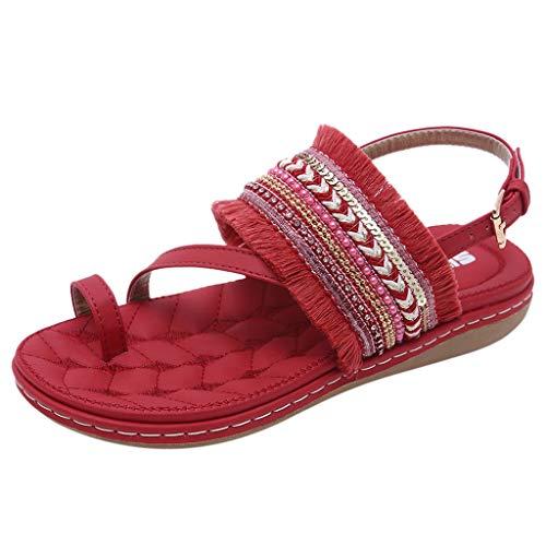 Kolylong Damen Boho Flache Sandalen T-Strap Toe Separator Frauen Schuhe Hausschuhe Staatsangehörigkeit Stil Quaste Sommerschuhe Schnallenriemen Sandalen 35-42