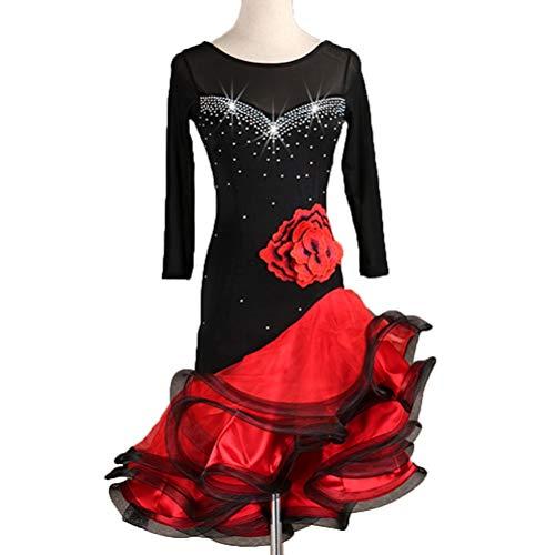 Kostüm Tanz Salsa Lateinische - HAOBAO Lateinischer Tanz Performance-Bekleidung Single Ärmel Seitlich trägerlos Trikot Damen Salsa Rumba Dance Kostüm Kleider, XL