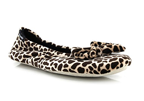 Isotoner Chaussons FEMME Velours - grand noeud Femme Girafe